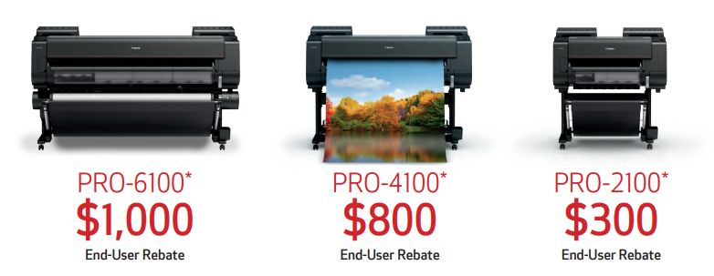 Rebate pricing on select Canaon imagePROGRAF Large Format Printers